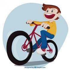 Kid riding a bike Free Vector