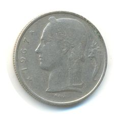 Belgium 5 Francs 1967 Vintage Coin Code:RSC1537 by JMCVintagecards
