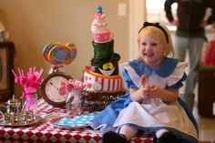 Alice in Wonderland topsy turvy birthday cake (and adorable Alice costume!)