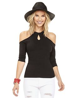 Shop Tee Luxe - Cold-Shoulder Halter Top . Find your perfect size online at the best price at New York & Company.