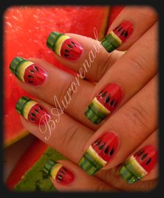 Nail art pastéque