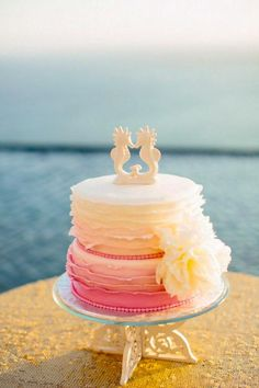 gorgeous coral beach wedding cakes