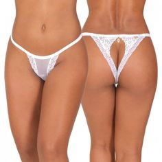 Vou às compras Thong. Lace and mesh thong with sexy cut out on the back. Jewellery pendant accent at the back. #thong #lingerie
