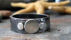 Rustic oxidized copper & sterling ring. Organic by PoseidonsBooty
