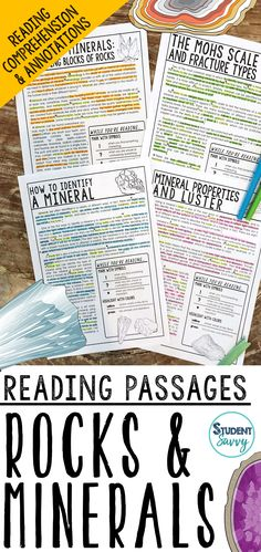 Rocks and Minerals Reading Passages - Questions - Annotations Science Lesson Plans, Science Resources, Science Lessons, Life Science, Teaching Resources, Teaching Ideas, Reading Comprehension Worksheets, Reading Passages, Comprehension Questions