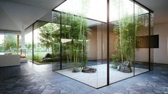 To Designing Cottage House Style In Natural : Cottage House With Indoor Garden Bamboo Plant Japaneese Style