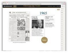 '50 years in 50 days': one more celebratory The Australian project. 'Discover great journalism, photography, cartoons and illustrations from 1964 to 2014, with readable front pages from our archives.' http://www.theaustralian.com.au/50th-birthday/through-the-years?nk=8af06a56cee3a6027eb2d212d5fe79c9