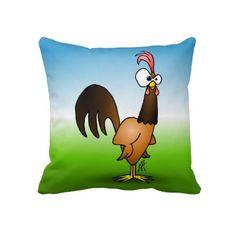 Rooster Pillow #Zazzle #Cardvibes #Tekenaartje