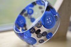 Blue Buttons Resin Bracelet by creationseclectik on Etsy, $42.00