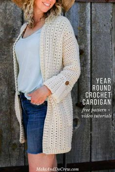 Crocheting this modern cardigan is easy with this four part video tutorial and free pattern series from Make and Do Crew. Love the cuffed sleeves!