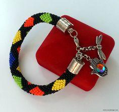 Beaded bracelet  Beaded Crochet Bracelet  Fatima by NazoDesign, $15.50