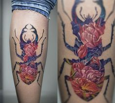 Tattoo artist Andrey Lukovnikovsuperimposes clean outlines onto lovely floral arrangements in order to create his unique ink badges. His alluring art