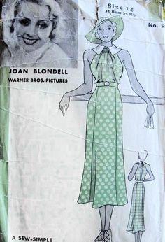 1930s SUN DRESS PATTERN BEAUTIFUL STYLE JOAN BLONDELL MOVIE STAR HOLLYWOOD PATTERNS 909