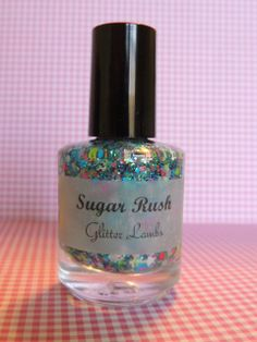 Sugar Rush: Glitter Nail Polish Lacquer- Indie Nail Polish Custom Handmade Glitter Topper- Blue Glitter Nail Polish Topper