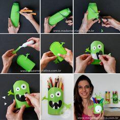 DIY pencil holder with shampoo bottles! Reuse Plastic Bottles, Plastic Bottle Crafts, Recycled Bottles, Plastic Recycling, Crafts For Boys, Diy For Kids, Fun Crafts, Kids Fun, Diy Home