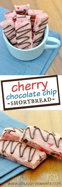 Cherry Chocolate Chip Shortbread Cookies: buttery, delicious, with maraschino cherries!