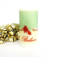 Believe Christmas Candle Holiday Candles Christmas Mantle