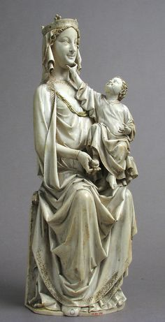 Enthroned Virgin and Child, ca. 1275–1300, French, Ivory with original paint Les Petits chemins