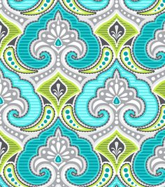 Modkid Studio by Patty Young Ornamental Teal Fabric