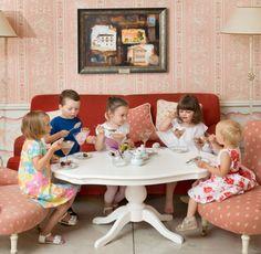 Children in Tea-Room at Dwór Oliwski Restaurant # Gdansk # Poland