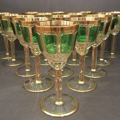 yorhyness:  Antique Moser Cut Crystal Gold and Green Wine Glasses