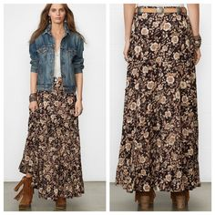 Brown Floral Print Tiered Gauzy Maxi Skirt A beautiful maxi skirt, perfect for summer (and fall!), in a pretty brown and cream floral print with a floor-skimming silhouette crafted in a lightweight slightly sheer crinkled cotton-blend-gauze.  Pair with a lace-trimmed tank for a festival - ready outfit!  Material is slightly sheer, but I don't feel it is really see through. It is unlined and the edges of the tires are slightly unfinished (see photos). Elastic waistband, 55% cotton, 45%…