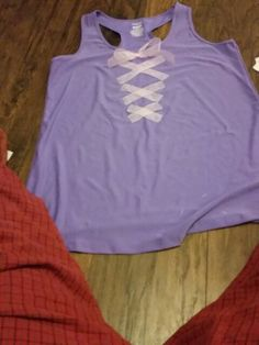 Diy top for adult Rapunzel Halloween costume.  Purple tank top from clearance…