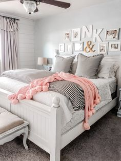 How to layer bedding using a coverlet and duvet.  Love these cozy farmhouse bedding ideas. Create a master bedroom you can't wait to come home to!  #masterbedding #farmhousebedding #seersuckerbedding #duvet #coverlet #howtostylebedding #homedecor