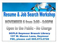 Resume & Job Search Workshop @ Your SCPLS Seymour Branch Library