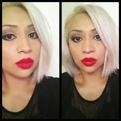 Platinum blonde hair ♡ lipstick ♡ makeup ♡ Pamela Jazmin