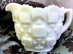 "Vintage Westmoreland Milk Glass Footed Creamer ""Old Quilt"" Pattern Replacement Serving Collectible Shabby Chic Country Cottage White East Liverpool, Westmoreland Glass, Old Quilts, Glass Candy, Candy Containers, Glass Company, Pretty Patterns, Antique Shops, Milk Glass"
