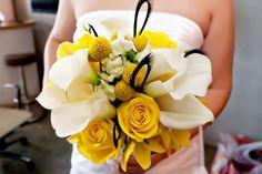 White Callas & Yellow Orchids Bouquet (Michelle). Fleurs de France Floral Addison/Dallas, TX.  Photography by Visions in White