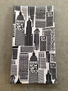 NYC skyscraper hand towel black & white on Etsy, $12.00
