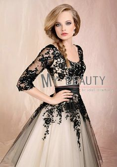 Chic Sheer Sleeves Princess Puffy Formal Party Gowns Lace Tulle Bridesmaid Dresses For Wedding Party Long US $94.58