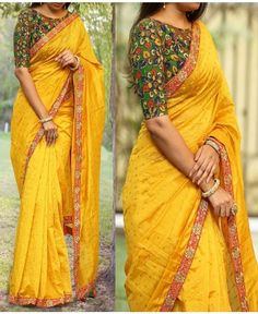 Awesome yellow saree with green blouse New Blouse Designs, Saree Blouse Designs, Yellow Saree, Simple Sarees, Saree Blouse Patterns, Saree Trends, Stylish Sarees, Designer Sarees Online, Saree Look