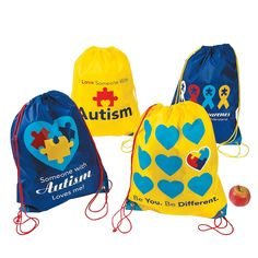 These Autism Awareness drawstring bags are a great way to bring awareness to your cause!  Autism Awareness Backpacks - OrientalTrading.com