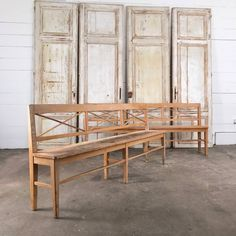 pair of painted wooden benches