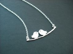 lovely mod birds necklace matte white gold plated by Lana0Crystal, $21.50