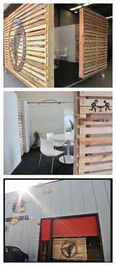 We needed a mobile meeting room in our studioand at the same time a surface where to put our logo, and an element to close visually but no totally, allowing people pass trough freely. We'vedone it with recycled pallets!    #Office, #PalletWall, #RecycledPallet, #Room