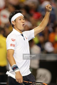 Kei Nishikori of Japan celebrates winning his fourth round match against Jo-Wilfried Tsonga of France during day seven of the 2016 Australian Open at Melbourne Park on January 24, 2016 in Melbourne, Australia.