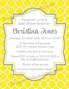 These baby or bridal shower invitations have a yellow quatrefoil background (can be any color). Also great for a wedding invite, birthday or save the date!