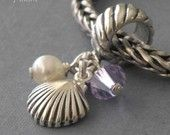 Sea Shell European charm bead sterling silver pearl crystal
