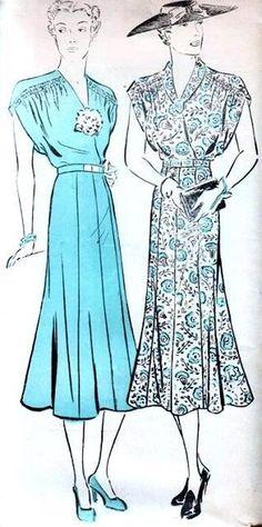 1930s New York Pattern 778 Beautiful Surplice Dress Shirred Shoulders