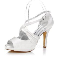[US$ 60.99] Women's Satin Stiletto Heel Peep Toe Sandals Dyeable Shoes