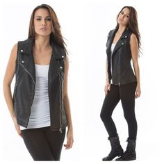 "❗️SALE❗️  LISTING Black Vegan Moto Leather Vest A must have staple for your closet. The best piece I have owned this year. Pair with some black Moto boots and black leather leggings. 50% polyurethane, 40% cotton , 10% poly. S-27"" long and PTP 18"", M-28"" long and PTP 19"", L-28"" long and 20"" PTP, XL-28"" long and PTP 20.5"". 154907 Paparazzi Jackets & Coats Vests"