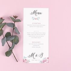 Menu - Selena - Watercolour Flowers - EivisSa Kind Designs, Wedding Stationery West Midlands www.eivissakinddesigns.co.uk