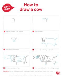 A new sidewalk chalk challenge for summer! Enjoy these 6 simple steps to drawing a Chick-fil-A Cow with your kids. Cow Appreciation Day, Fun Ideas, Craft Ideas, Sidewalk Chalk, Cows, Grandchildren, Summer Fun, Summertime, Challenge