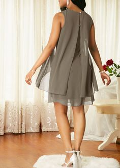 4 Color New Women's Fashion Sleeveless Lace Up Double Layer Dress Casual Women Chiffon Party Dress Evening Dress Short Skirts Plus Size Grey Chiffon Dress, Chiffon Dresses, Couture Dresses, Fashion Dresses, Women's Fashion, Casual Dresses, Short Dresses, Short Skirts, Simple Gowns