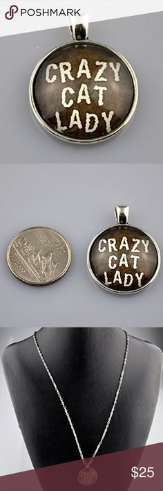 "Crazy Cat Lady Antique Silver Glass Dome Necklace Do you like cats more than people? This glass dome Necklace is the perfect way to show your love for your kitty clan.  Handmade 1"" round Pendant with image sealed behind glass in an antique silver tone tray.   Choice of a 16"", 18"", 20"", or 24"" Rolo Chain necklace. See sizing guide in last photo. Pictured on a 24"" Chain.  Hand assembled so small air bubbles may be present. Water resistant but not waterproof. Photo taken next to quarter for…"