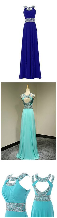 Women's Long Prom Dress Chiffon Beading Bridesmaid